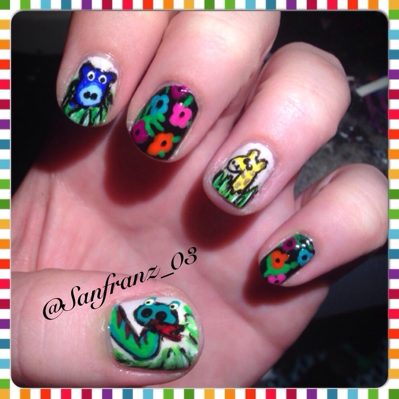 Jungle nail art!! nail art by Sandy