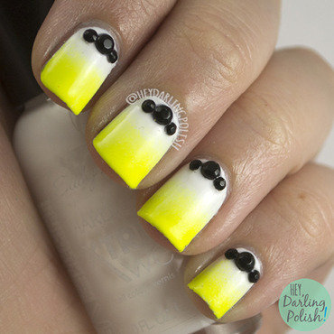 Neon yellow white gradient black studs nail art 4 thumb370f