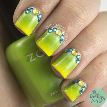 Zoya blue green yellow gradient rhinestone nail art 4 thumb370f