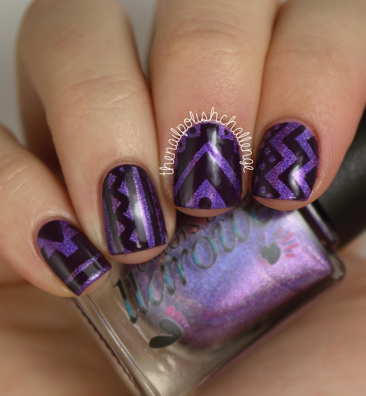 Tribal Print Nail Art nail art by Kelli Dobrin