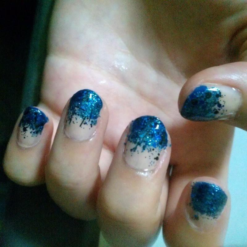 Blue Glitter nail art by JingTing Jaslynn