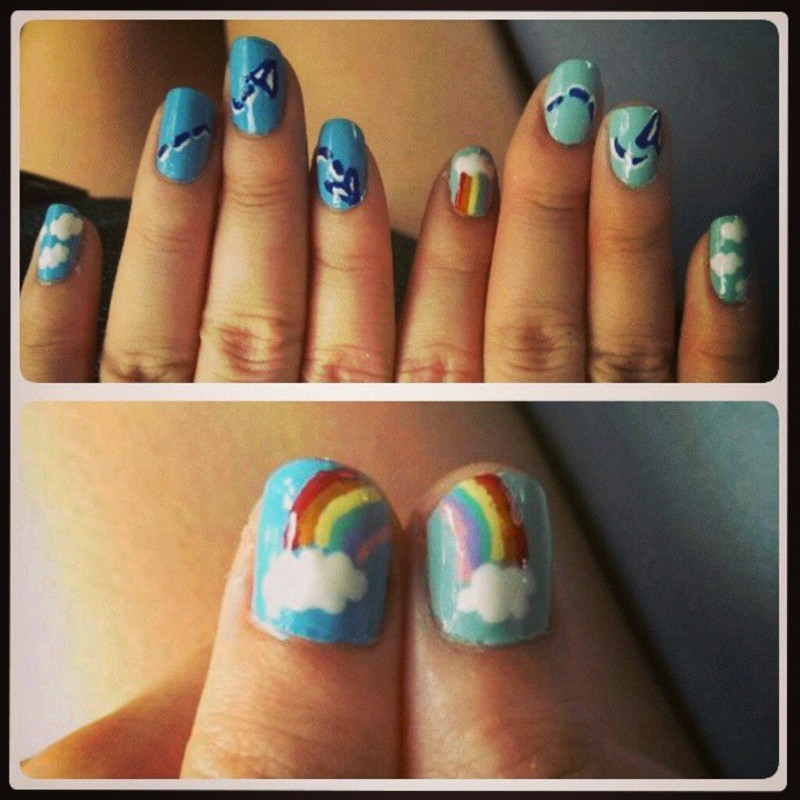 Of fluffy clouds and paper planes nail art by JingTing Jaslynn