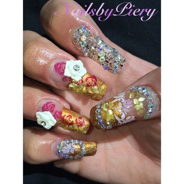 Princess Belle inspired nail art nail art by NailsbyPiery