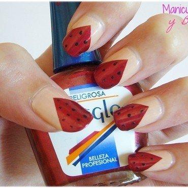 Chevron Watermelons Nails nail art by Estefanía Manicuras y Belleza