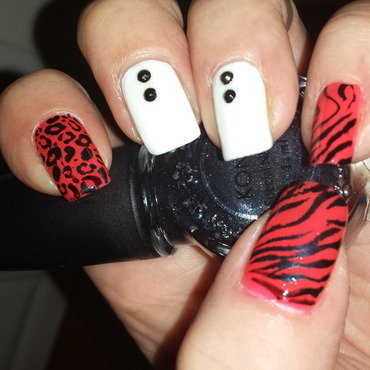 Studded animal print nail art by lazy nail blogger