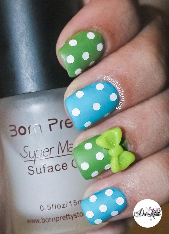 Retro polka dots nail art by Diana Livesay