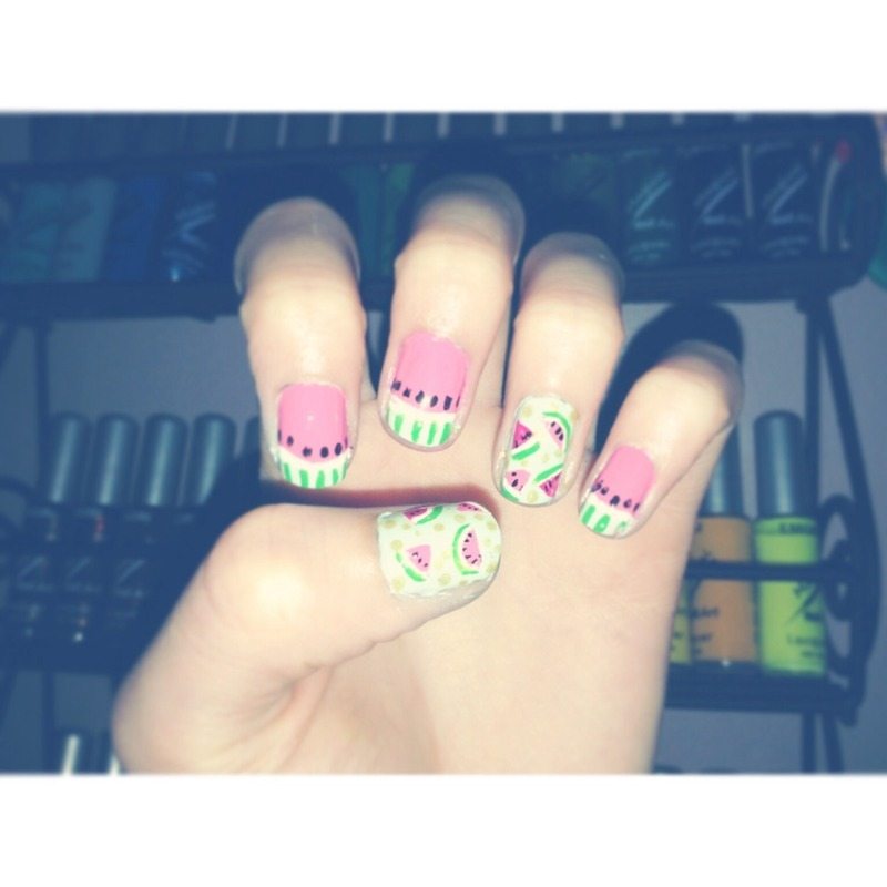 Watermelon  nail art by annahwoods