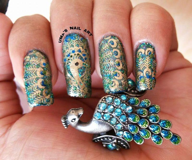 Peacock Nails nail art by Uma mathur
