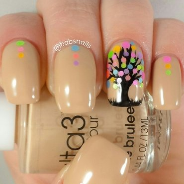Free Hand Tree & Neon Dots nail art by Brooke (babs)
