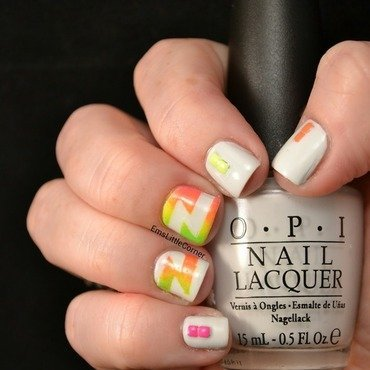 Neon Z shape mani nail art by Emma B