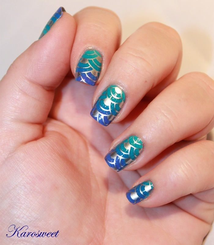 Ocean nails with stamping nail art by Karosweet