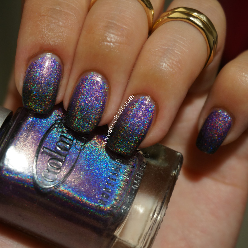 Purple/Black holo gradient nail art by Stephanie L