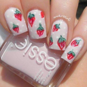 Strawberries and Polka Dots nail art by Ann-Kristin