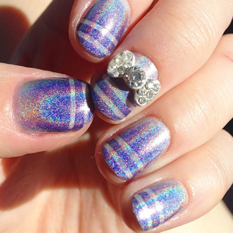 Holo Gradient and Striped Tips nail art by Anya Qiu