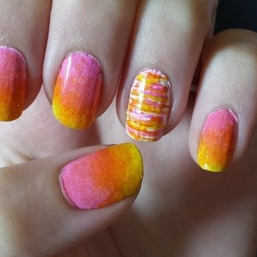 Bright Love nail art by Brittany Wanner