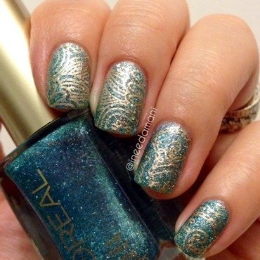 Loreal 20pop 20the 20bubbles 20blue 20and 20gold 20arabesque 20nail 20stamping thumb370f