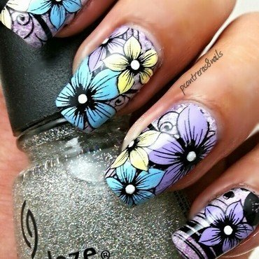 Happy Pastel Flowers nail art by pcontreras8nails