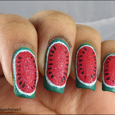 Textured watermelom nail art by CrazyPolishes (Dimpal)