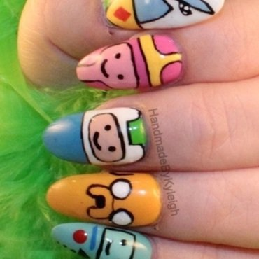 Adventure Time nail art by  Kyleigh  'Handmade By Kyleigh'