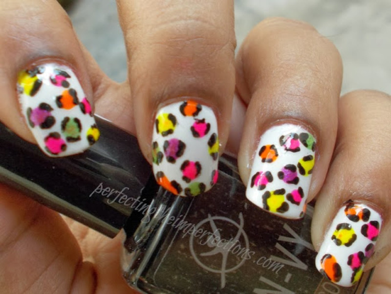 Neon Colorful Leopard Print nail art by Rajani Polished Techie