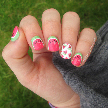 Watermelon nails nail art by Restons polish