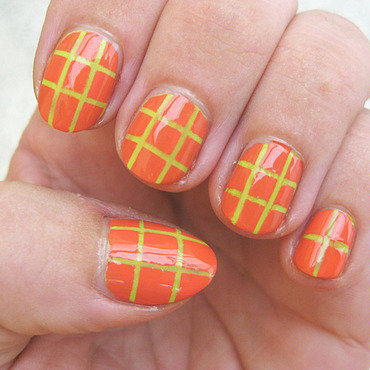 Squares with striping tape nail art by Vicky