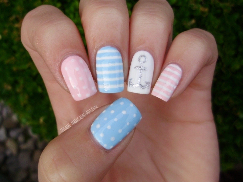 Pastel nautical nails nail art by Sanela - Nailpolis: Museum of Nail Art