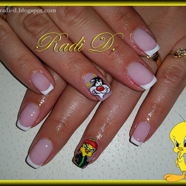 Sylvester & Tweety nail art by Radi Dimitrova