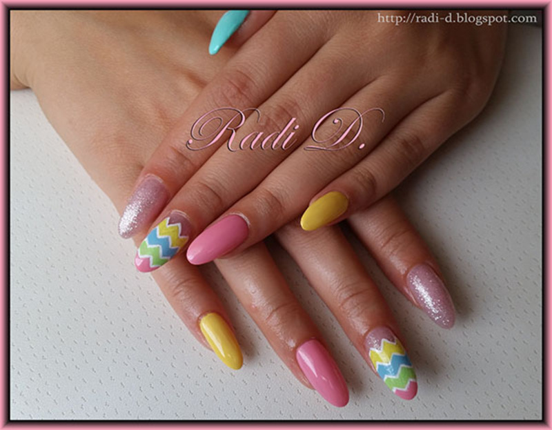 Long Almond Nails in Pastel colors nail art by Radi Dimitrova ...