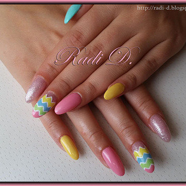 Long Almond Nails in Pastel colors nail art by Radi Dimitrova