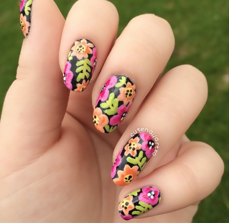 Cute floral nails nail art by Kristen