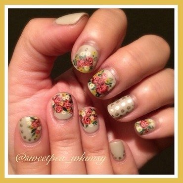 Vintage Roses on Nude - Matte Finish nail art by SweetPea_Whimsy