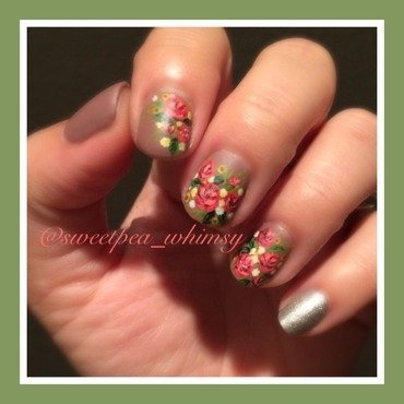 Summer Bouquet on Lavender nail art by SweetPea_Whimsy
