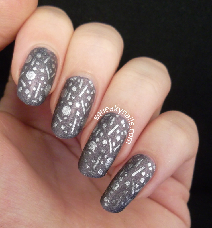Stamped Glitter Placement  nail art by Squeaky  Nails