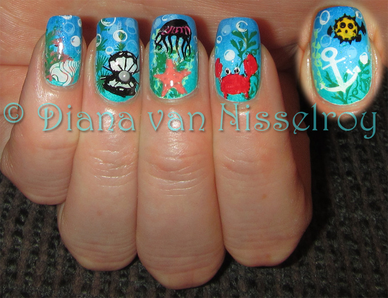 Under the Sea 2014 nail art by Diana van Nisselroy