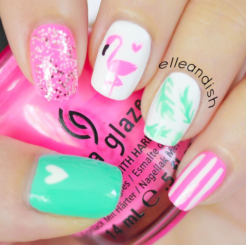 Flamingo Nail Art nail art by elleandish