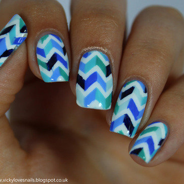 Blue Colour Block Chevrons nail art by Vicky Standage