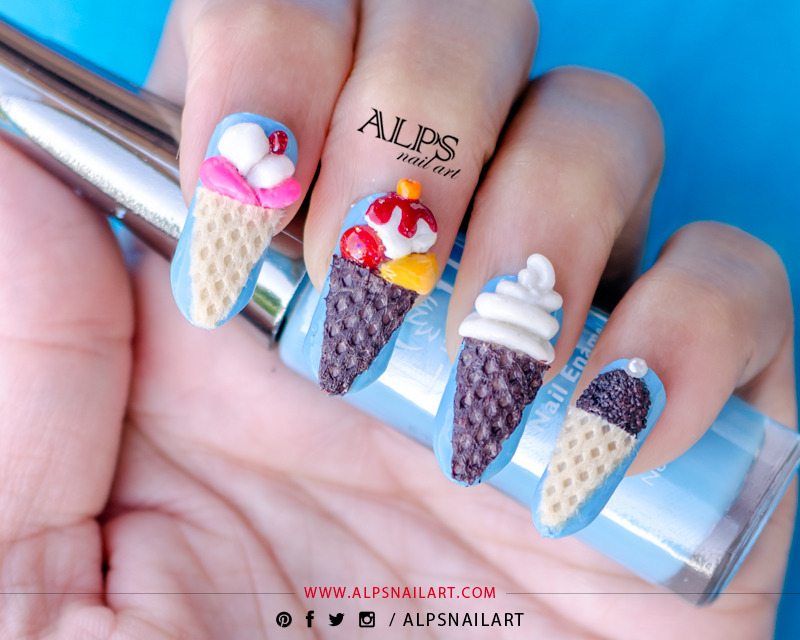 3D Ice Cream Nail Art by Alpsnailart nail art by Alpsnailart