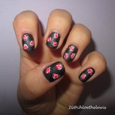 Pink Roses nail art by Chloe Lewis