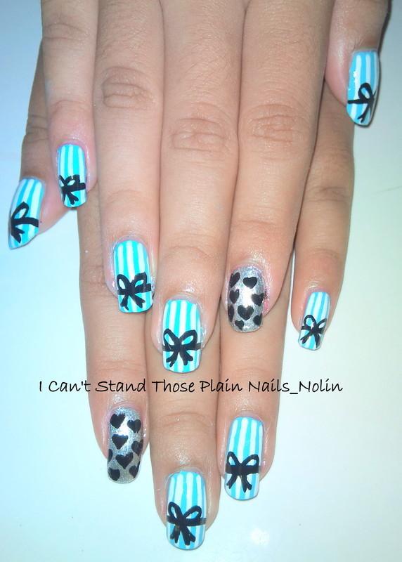 Strips & bows nailart nail art by Arnolin Modokh