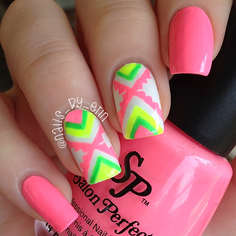 Neon Aztec Nails nail art by Erin