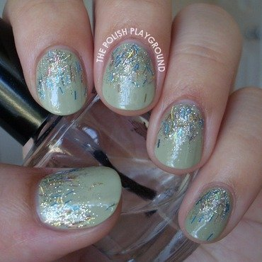 Silver and Blue Reverse Glitter Gradient nail art by Lisa N