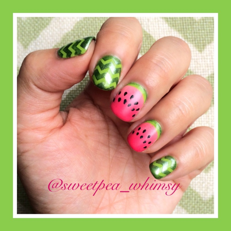 Watermelon Nails nail art by SweetPea_Whimsy