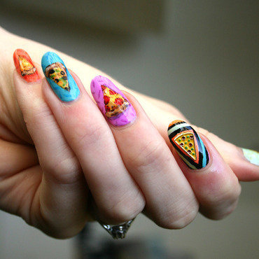Cosmic Pizza nail art by ladycrappo