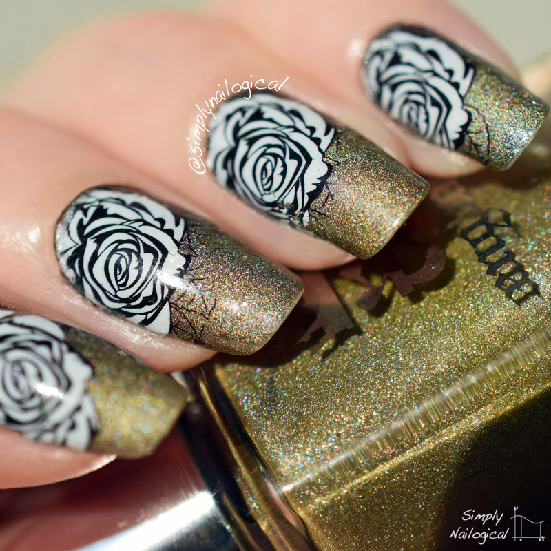 Rose water decals over the most gorgeous olive green ever nail art by simplynailogical