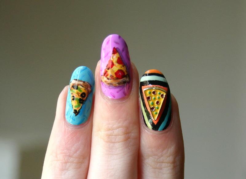 Cosmic Pizza Closeup Shot nail art by ladycrappo