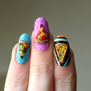 Cosmic Pizza Closeup Shot nail art by ladycrappo