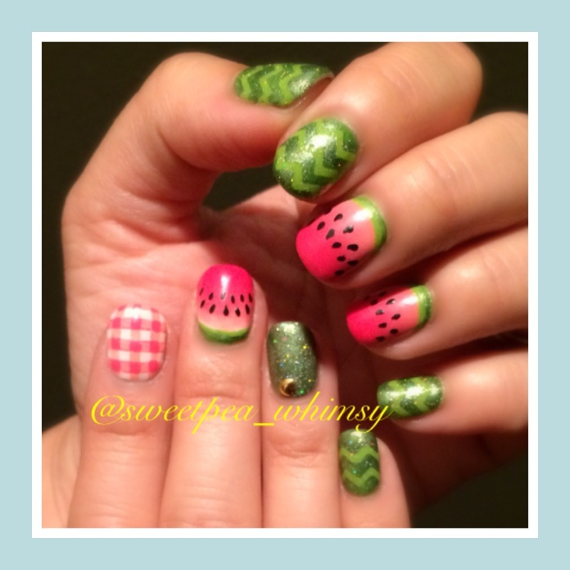 Summertime Watermelon nail art by SweetPea_Whimsy