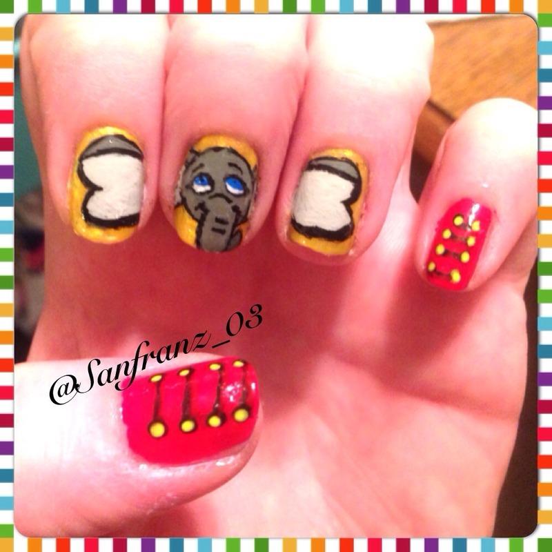 Dumbo nails! nail art by Sandy