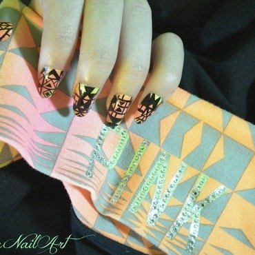 Neon Gradient Tribal Print nail art by Saralicia Mustain